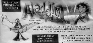 Poster advertising Menston Aladdin pantomime 19-21 February