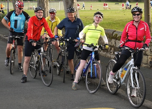 Menston cycling group meet up near the Park every Monday