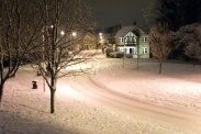 Menston village winter scene: Ellar Gardens