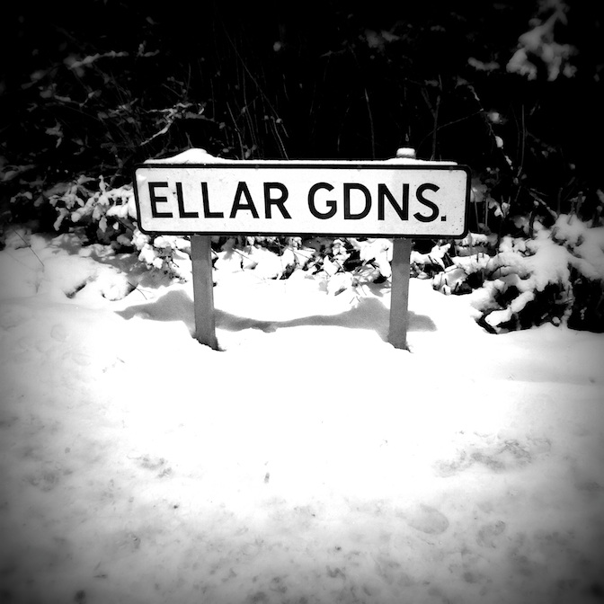 Menston village in winter. Ellar Gardens street sign