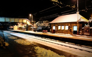Menston village railway station on a winter evening