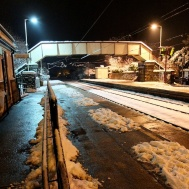 Menston railway station looking towards Ilkley on a winter evening