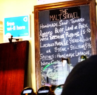 Menston village pub Malt Shovel menu board