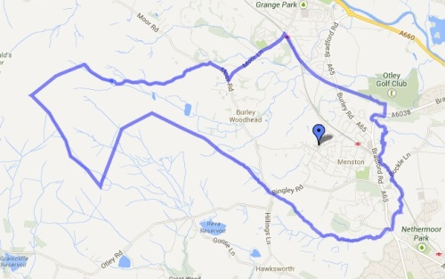 Map showing the Menston Parish boundary