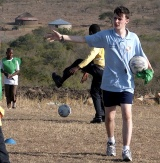 St Mary's Menston pupil Patrick Connolly, teacher on the football pitch in South Africa