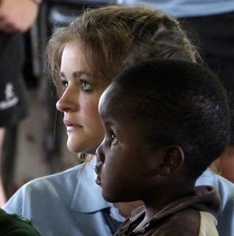St Mary's Menston pupil Freya O'Connor with African child
