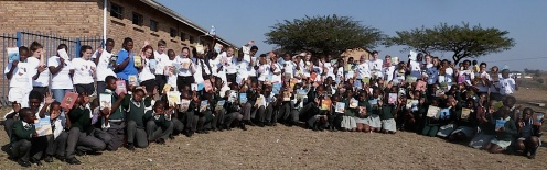 St Marys Menston visitors with the pupils of Mnyakanya school