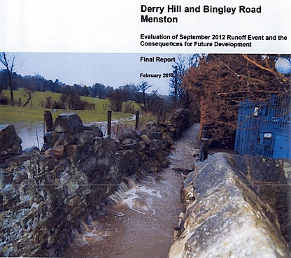 Image of part of the front page of the report on Menston Flooding prepared by JBA Consulting