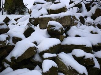 Snowy stones