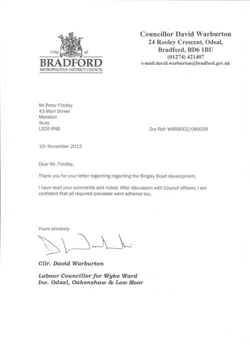 Letter from Cllr Warburton, Chair of the BMDC Regulatory and Appeals Committee, in response to letter from  Menston Parish Council