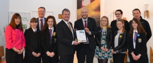 The St Mary's team display the Fairtrade status award.