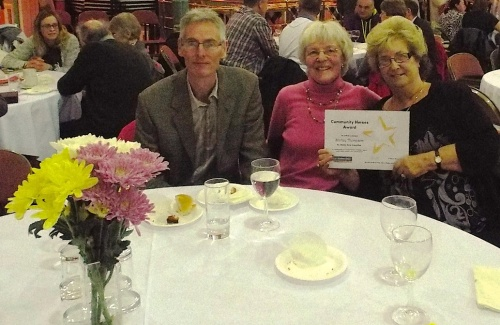 Shirley Thompson of Menston Cares, Community Hero, right, with Jane Pratt and James Brown