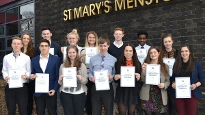 St Mary's students with their Diana Award Certificates. L-R, back row, Chloe Tindale, Patrick Connolly, Elizabeth Garnett, Elizabeth Banks, Charlie Walker, Kavindu Appuhamy, Emily Fieldhouse; front row, Ryan Clarke, Michael Jones, Madeline Tysoe, James Riley, Hannah Smith, Freya O'Connor, Jade Rigby-Williams.