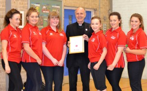 Mgr Vladimir Felzmann with St Mary's Sports Leaders