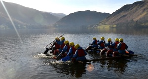 St Mary's year 8 pupils on Lake Ullswater on what looks like a better day
