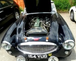 Classic Austin Healey. View of the engine