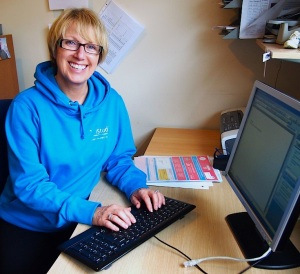 Christine in her businesses woman role; at her desk at the The Studio, Menston