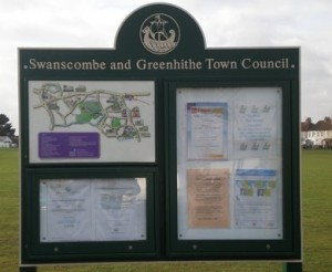 A rough idea of the kind of community information board envisaged in the MCA Village Information Centre project, incorporating areas for a village map showing places of interest, walks and local businesses, an area to publicise community organisations and their activities, and an area for official MCA communications.
