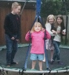 The trampoline kept the children occupied