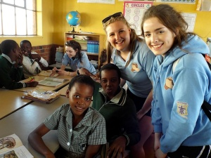 St Mary's Menston pupils Bethany Tindall and Eleanor Thompson in the classroom with Zulu children