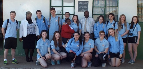 St Mary's Menston pupils and teachers at the Bambisanani Partnership school in South Africa