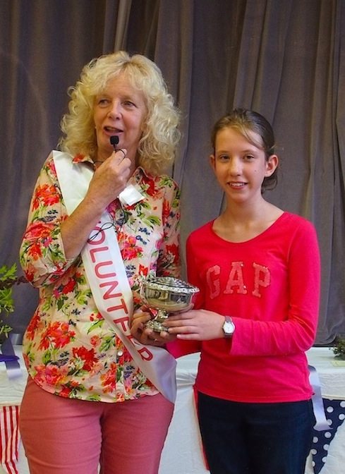 Highest points in the show, Maria Sage is presented with the Fawcett Trophy