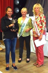 Kim Richards receiving the Menston Show Handicrafts Cup from Show President