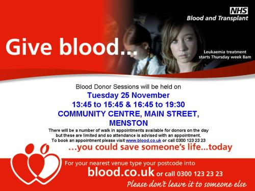 Poster re giving blood, Menston, 25 November