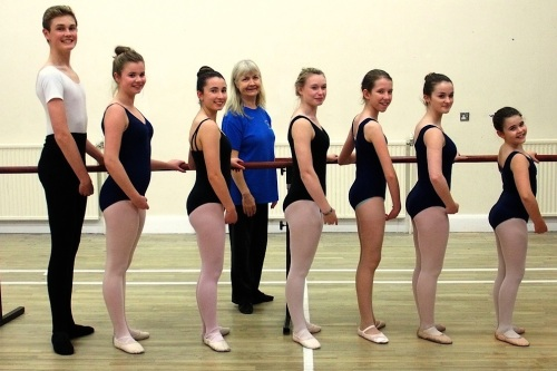 BTA Menston dance class students with teacher in the Kirklands Community Centre. L to r: Nic Cain (Menston, April Lever ( Leeds), Izzy Eades-Jones (Bradford), Maria Sage (Menston), Stephanie Clements (BTA Principal and teacher), Molly Foster (East Morton), Josephine Gibbs (Menston), Aimee Turnbull (Burley in Wharfedale)