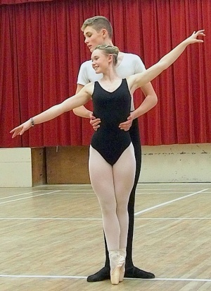Scholarship winning Menston schoolboy Nic Cain, practising with Molly Foster from East Morton during Menston dance classes at the Kirklands Community Centre