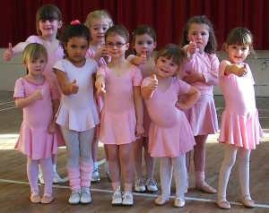 Thumbs up from the youngest dance group at their Saturday session at Kirklands. Left to right: back, Amelia, Isabel, Iona and Chloe; front Hannah, Amber, Orla, Stephanie andLauren.