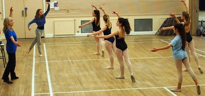 A tuesday evening class; older dancers with teacher Stephanie Clements who has choreographed the pantomime dance sequences