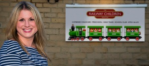 Zandra with the colourful Railway Children sign