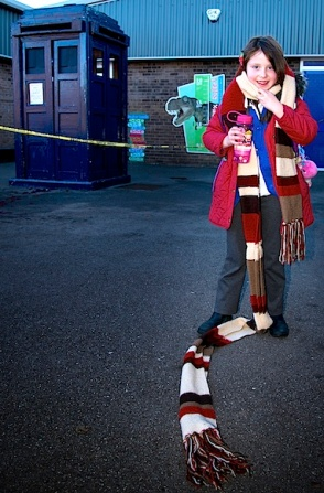 Lucinda Leeming with Tardis and the scarf