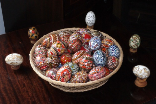 A basket of decorated eggs from the Bucovina in northern Romania.