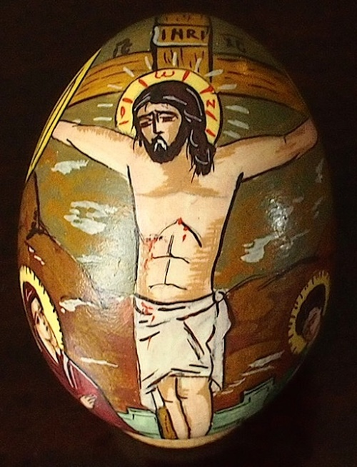 Romanian decorated duck egg shell showing Christ on the Cross