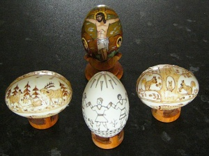 Three 'written' eggs, decorated just with bees' wax, and one truly 'painted' egg from the Bucovina, Romania