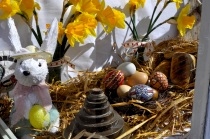 Decorated eggs in the Village Bakery display