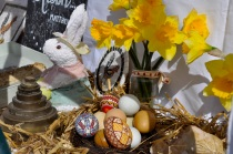 Decorated eggs in the Village Bakery Easter display