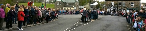 Some of the crowds gathered alongside Menston Park and up Bingley Road waiting for the Tour de Yorkshire riders