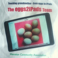 Project 'logo' on T-shirts worn by the 'eggs2iPads' team, showing a photo of eggs on an iPad