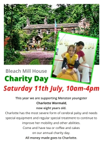 Poster for the Bleach Mill House charity day in July, showing Menston youngster Charlotte Wormald which the day will support