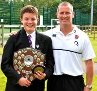St Mary's Menston sports award winner Ciaran Hammond with England Rugby Head Coach Stuart Lancaster; see below