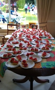 Strawberry teas waiting to go at the Menston in Bloom annual event in 2015