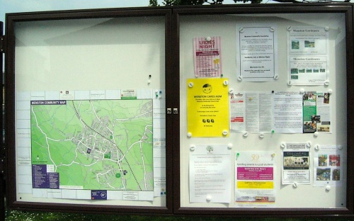 Photo of the new Menston Community Association noticeboard, utside the library, which is gradually coming together. Notices of future events in Menston or by Menston organisations (max A4) can be posted in the right hand pane; leave them at Smallprint, Solo or Ribston & Pippin.