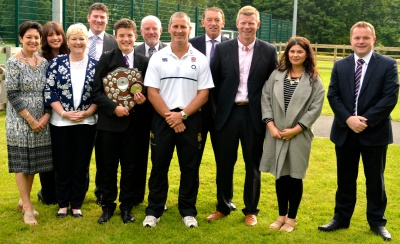 Photo with Mrs Hammond, award winner Ciaran Hammond's mother; Catherine Hammond Ciaran's sister; Colleen Payne-Ross; Adam Payne-Ross; Ciaran Hammond; Mr Hammond (Ciaran's father); Stuart Lancaster, England Rugby Union Head Coach; David Geldart, Assistant Headteacher; Craig Thornton, Faculty Leader, PE and Sport; Megan Casey, School Rugby Ambassador); Darren Beardsley, Headteacher.