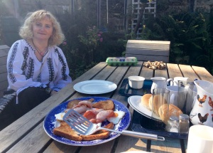 Petronela about to begin the Sunday breakfast in the 'garden' at Bleach Mill House (this isn't the 'full'; there's sausages, black pudding, tomatoes etc if you want them!).