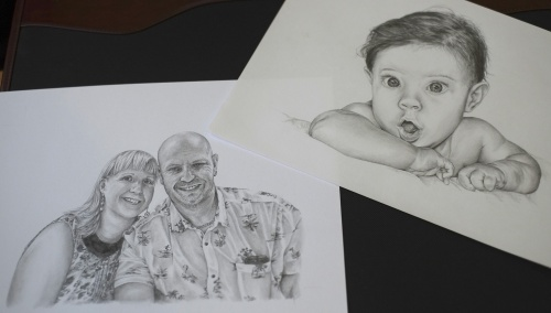 Two of Laura's recent commissioned pencil portraits