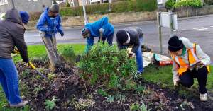 Menston in Bloom volunteers at work on 3o January 2016