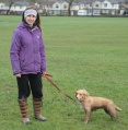 Kelly, of Over the Hills dog walking, in Menston Park with Orla after a long, wet walk on the Chevin
